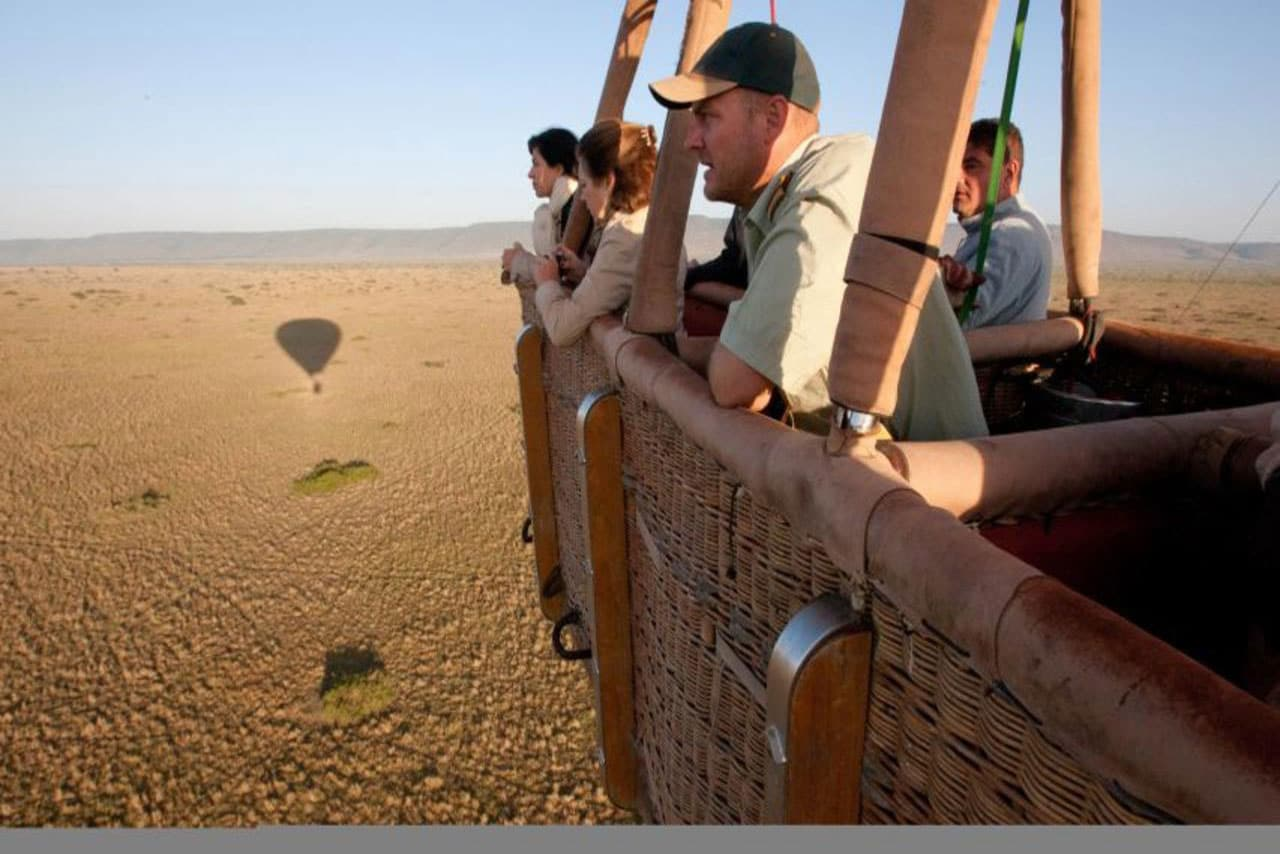 people on a hot air balloon safari
