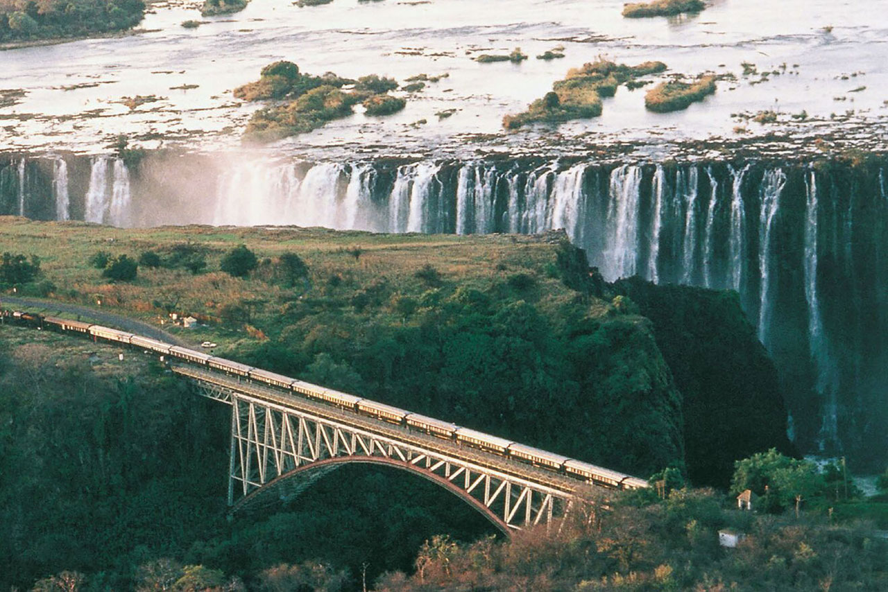 Victoria falls and Rovos rail train route