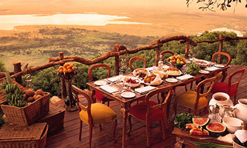 Dinner table setup with a Ngorongoro rater view