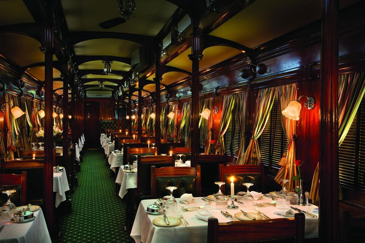 dinning room inside rovos rail train