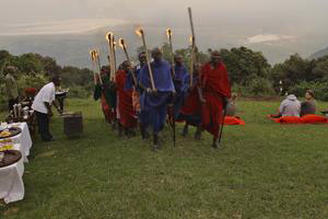 East African Culture. Maasai with fire