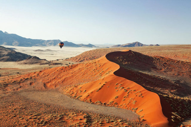 Hot Air Balloon Over Sossusvlei Red Sand Dunes