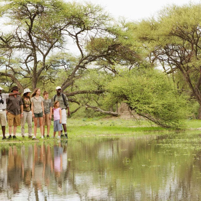 family on a walking safari at footsteps