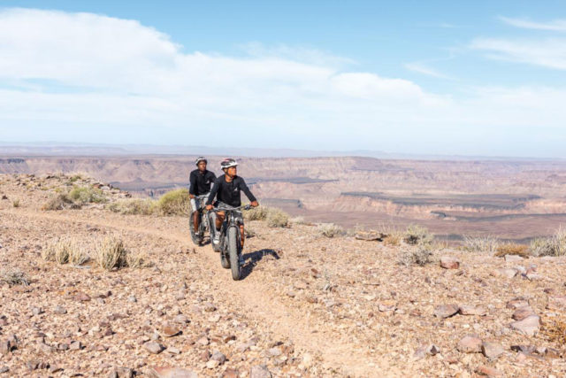 Biking along Fish River Canyon