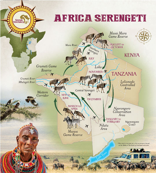 Africa Serengeti migration map
