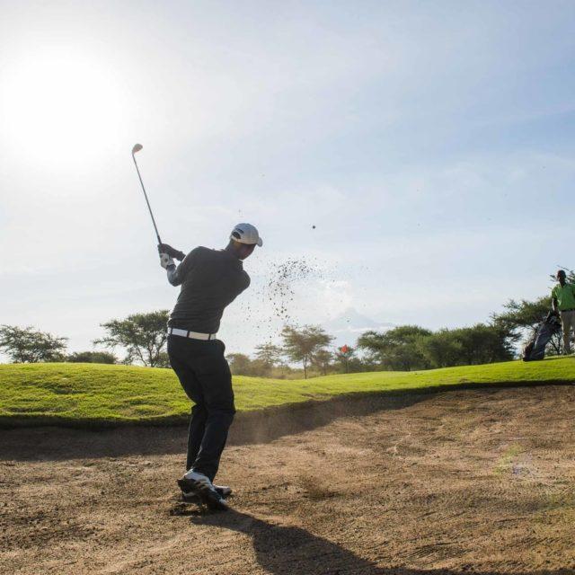Golfer playing at Kilimanjaro golf course