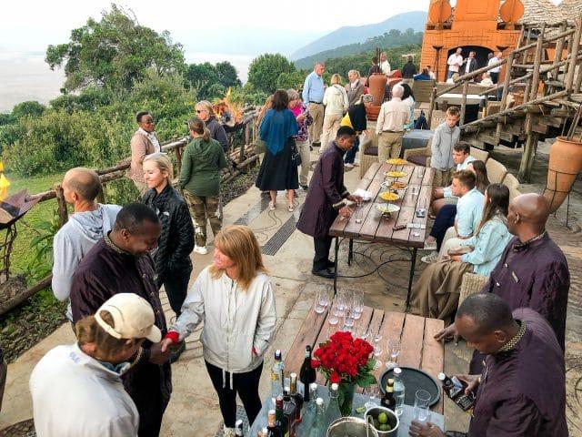 incentive travel of a group sundowner at Ngorongoro crater lodge